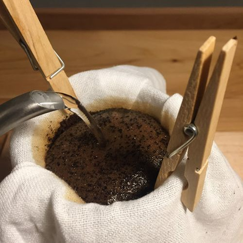 Improvised pour over coffee