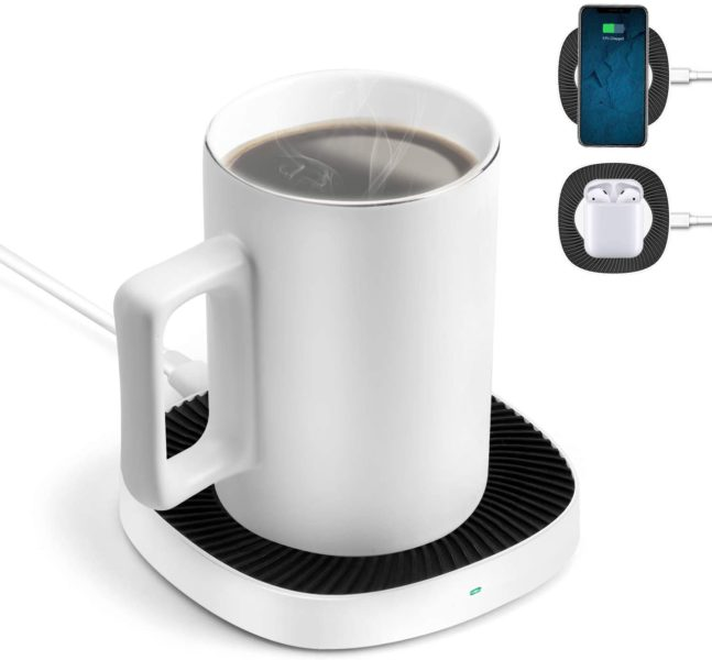 BiQeouc 2-in-1 Mug Warmer with Wireless Charger