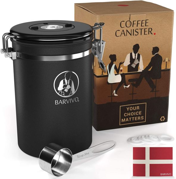BARVIVO Stainless Steel Coffee Canister