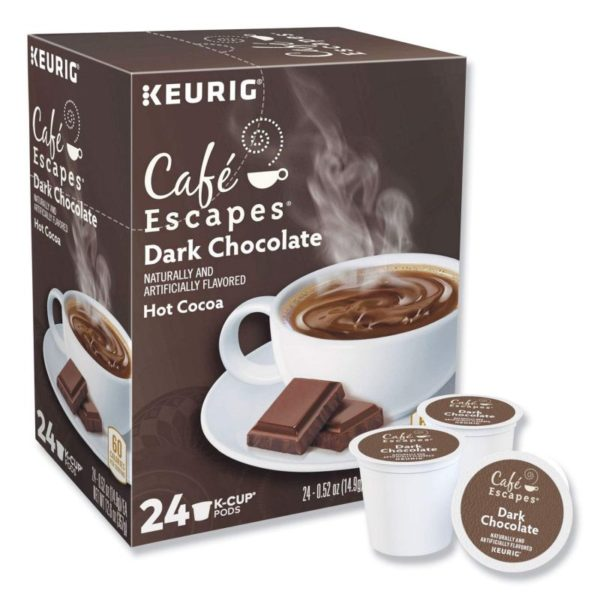 Café Escapes Dark Chocolate Hot Cocoa K-Cups for Keurig Brewers
