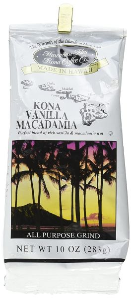 Hawaiian Isles Kona Coffee Co Kona Vanilla Macadamia Nut Ground Coffee