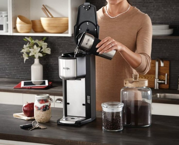 Mr Coffee Single Cup Coffee Maker with Travel Mug and Built-In Grinder