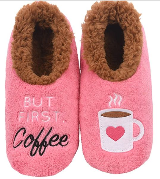 Snoozies Pairables Womens Slippers But First Coffee